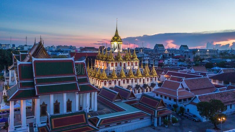 Wat Ratchanatdaram Temple de stad in van Bangkok, Thailand, Satellietbeeldbangkok stock afbeelding