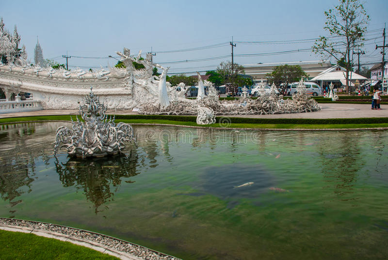 Wat Rong Khun, aka o templo branco Chiang Rai, Tailândia imagem de stock