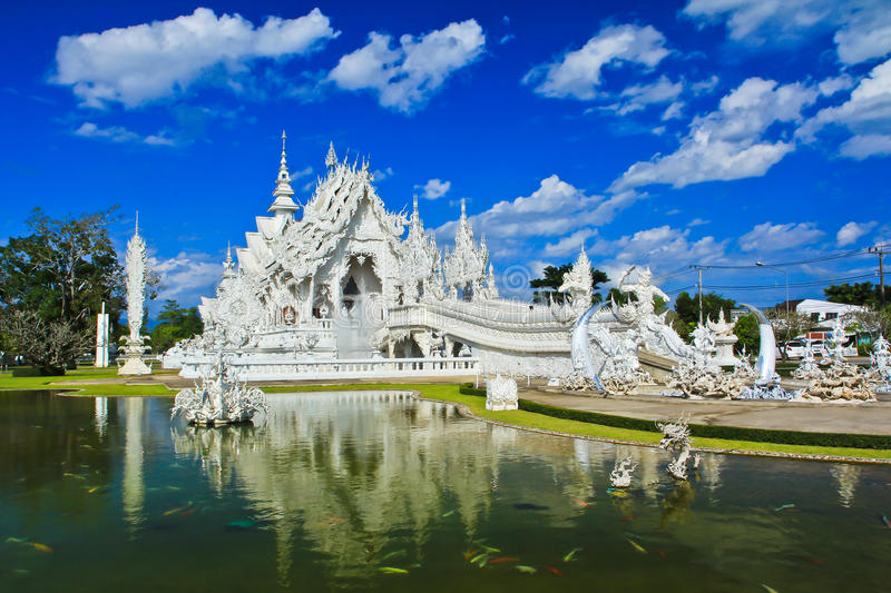 Wat Rong Khun in Chiangrai province, Thailand. Where is the place of worship royalty free stock images