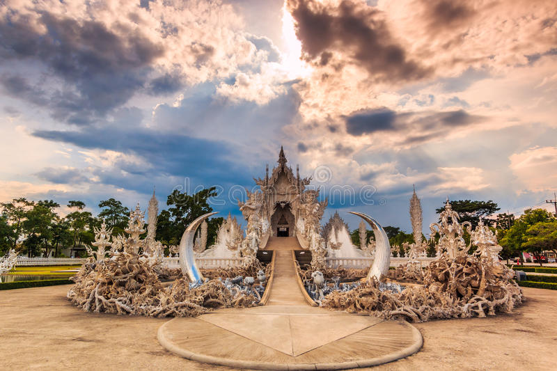 Wat Rong Khun in Chiangrai province, Thailand. Where is the place of worship stock photography