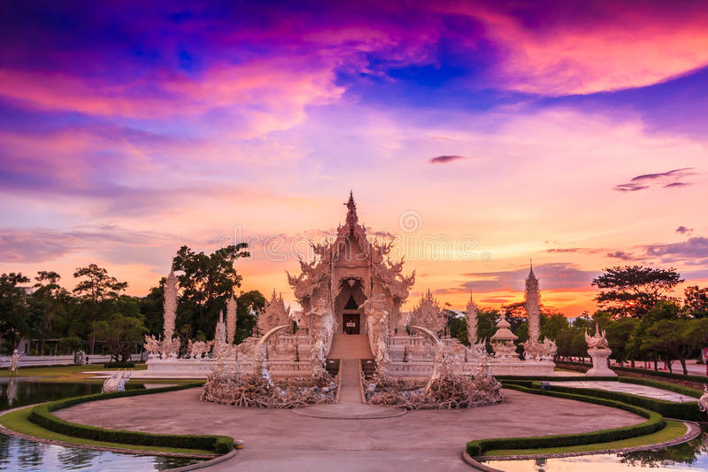 Wat Rong Khun in Chiangrai province, Thailand. Where is the place of worship royalty free stock image