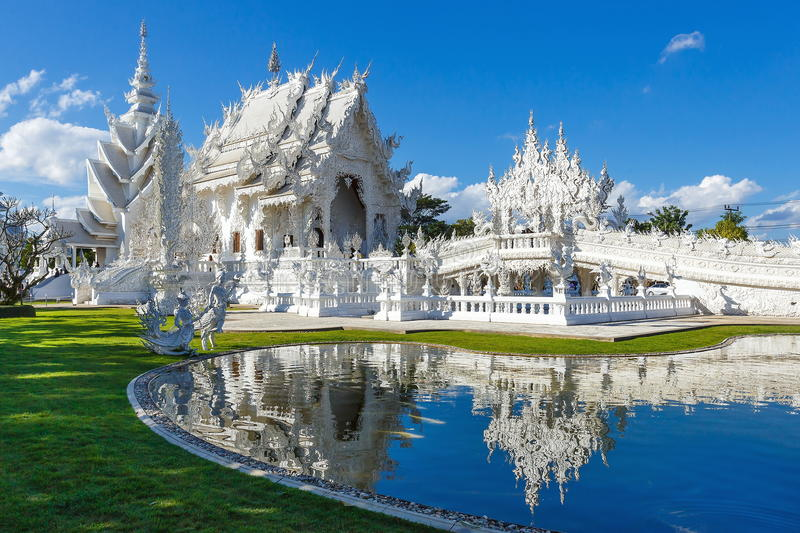 Wat Rong Khun , temple, buddhist temple . stock photo