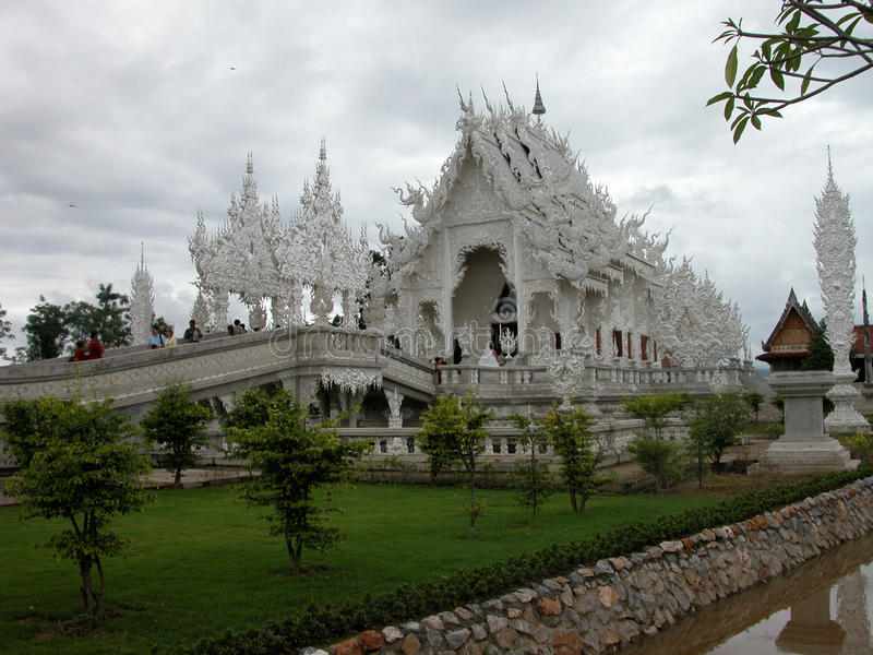Wat Rong Khun Temple in Chiang Rai, Thailand. stock photo