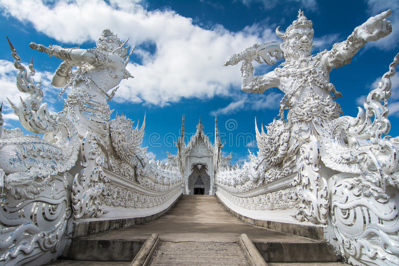 Wat Rong Khun (White Temple), Chiang Rai, Thailand. Beautiful ornate white temple located in Chiang Rai northern Thailand. Wat Rong Khun (White Temple), is a royalty free stock image