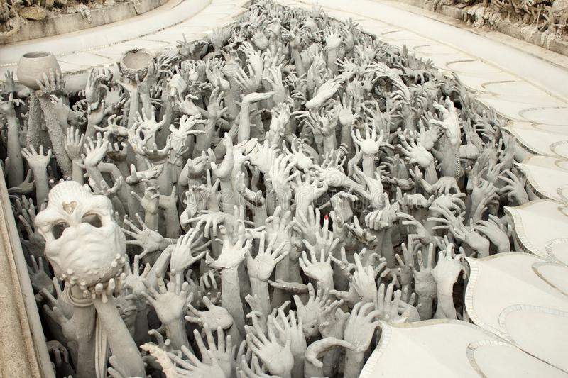 Details at Wat Rong Khun White temple The famous temple of Thailand-3 stock photography