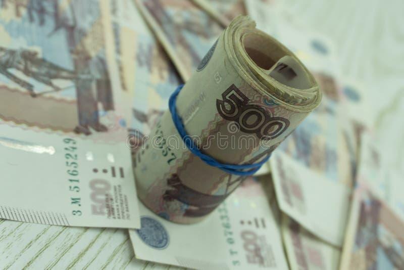 Wat Russisch geld op succeswit stock fotografie