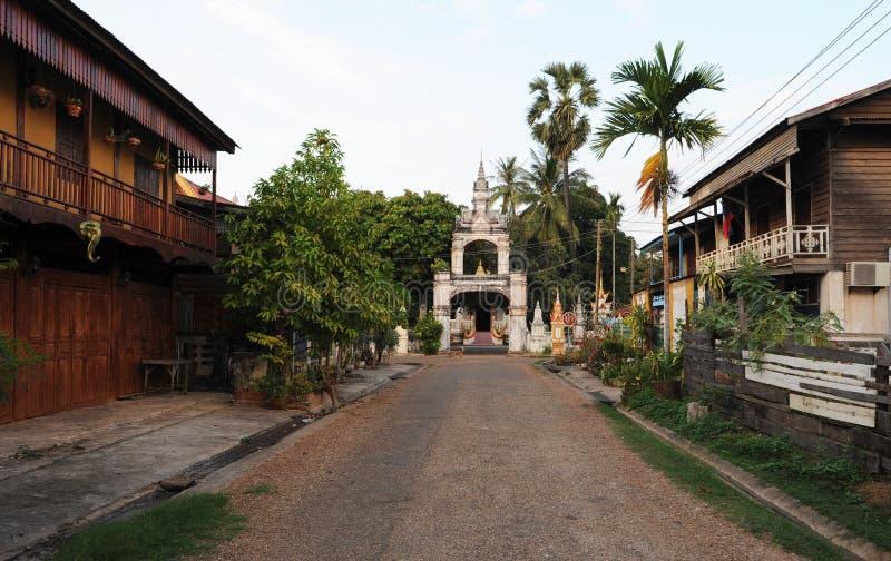 Wat Sainyaphum monastery and colonial houses at Savannakhet. On Laos royalty free stock photos