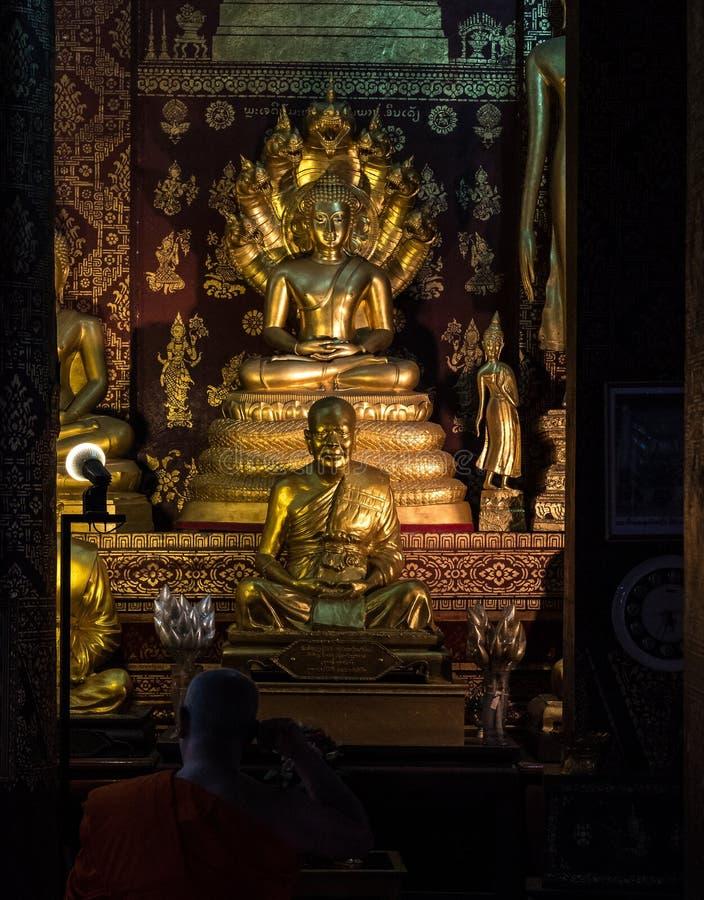Wat Sensoukharam in Luang Prabang at night in Laos stock photos