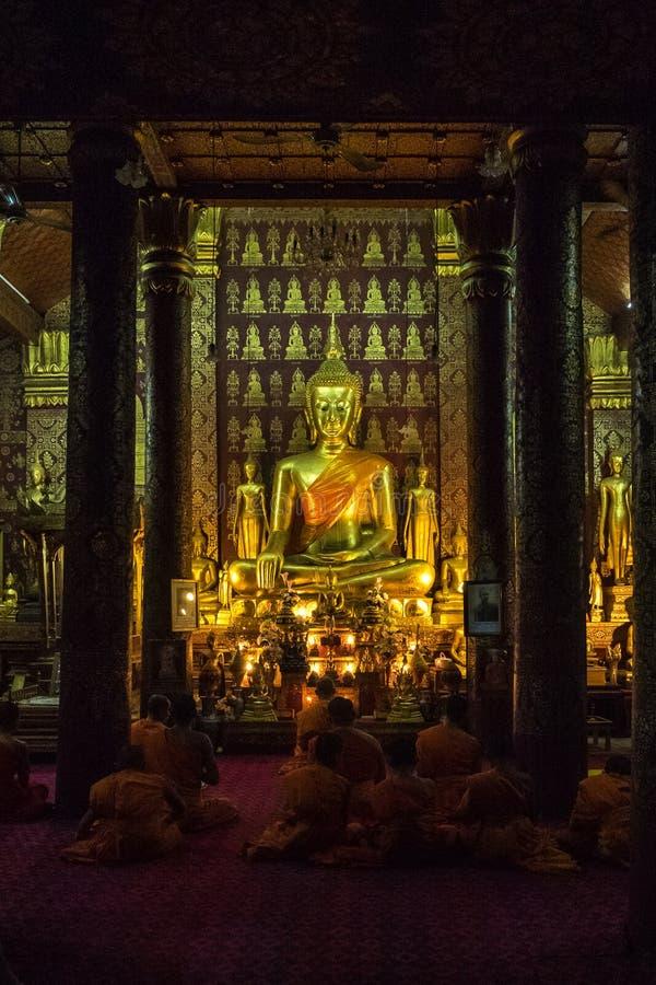 Wat Sensoukharam in Luang Prabang at night in Laos stock photography