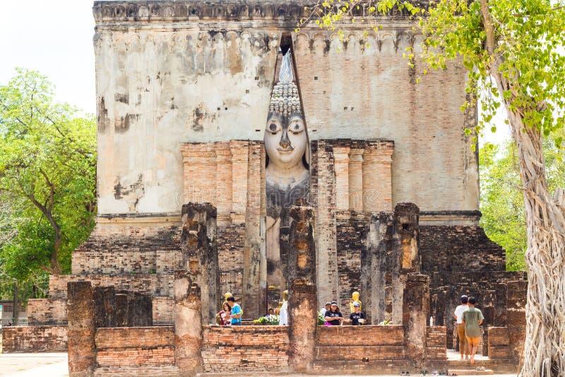 Wat Si ChumIt não pode ser uma Buda grande da Buda Largura de 11 30 medidores, 15 medidores de altura, são a arte de Sukhothai imagem de stock