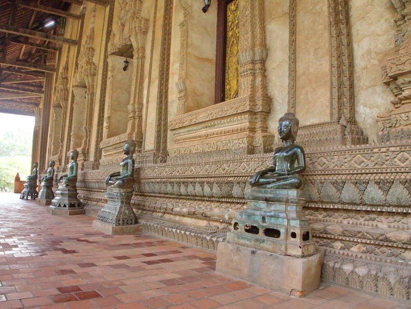 Wat Si Muang eller Simuong är en buddistisk tempel som lokaliseras i Vientian arkivbild