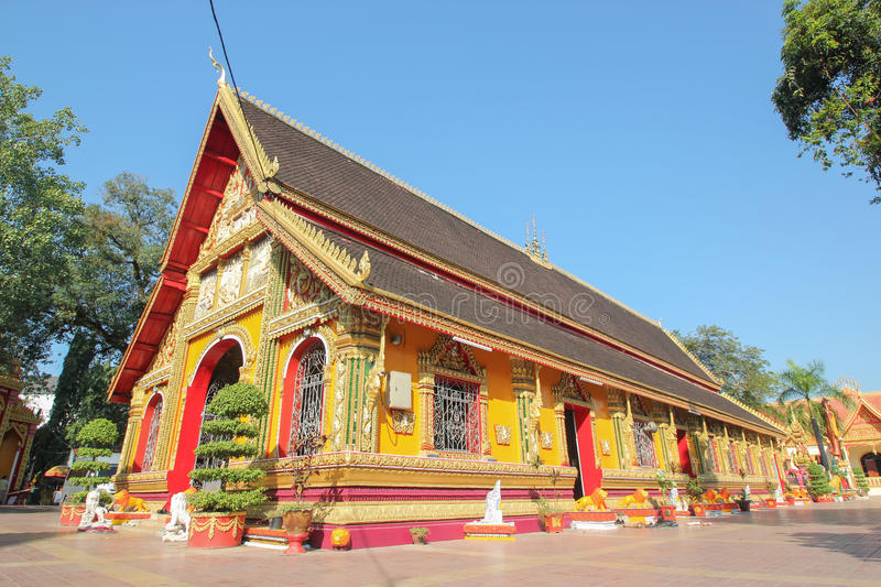 Wat Si Muang in Vientiane, Laos. Wat Si Muang is a Buddhist temple in Vientiane, This is temple traditional and generic style in Laos. No any trademark or royalty free stock photo