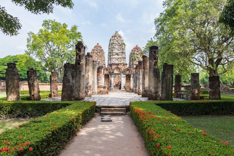 Wat Si Sawai Sri Savaya no templo grande do estilo do Khmer de Sukhothai A em Sukhothai TAILÂNDIA fotos de stock royalty free