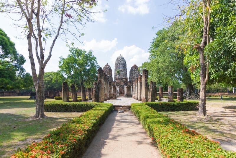 Wat Si Sawai Sri Savaya no templo grande do estilo do Khmer de Sukhothai A em Sukhothai de templos grandes em Sukhothai foto de stock