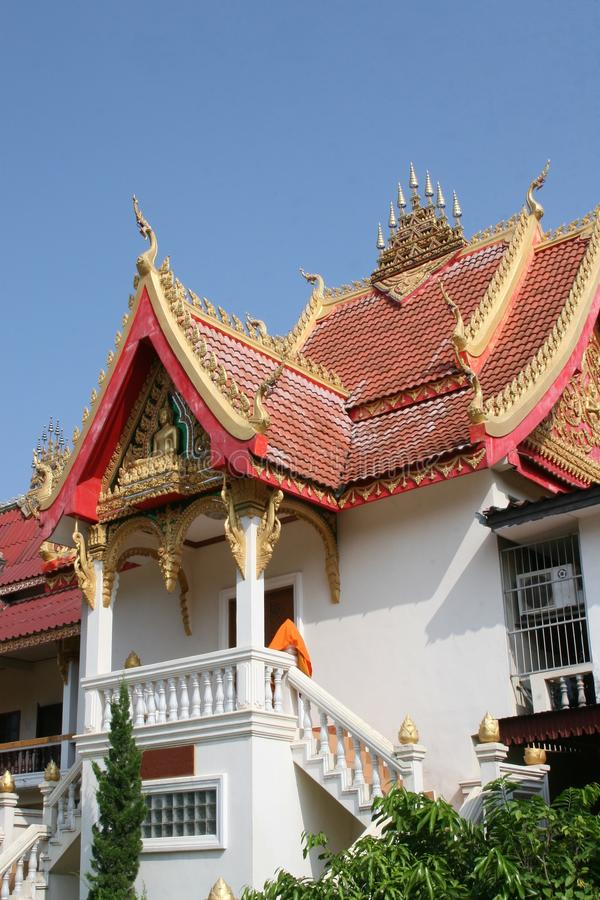 Facade of Buddhist temple Wat Si Saket in Vientiane, Laos. Old Buddhist temple Wat Sisaket in the city centre of Vientiane in Laos stock image