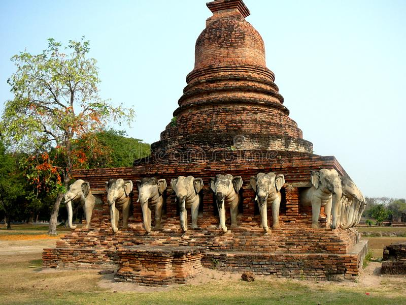Wat Sorasak in Old Sukhothai Thailand. Wat Sorasak is located in the Old Sukhothai Thailand World Heritage Site by UNESCO. At one time this location was capital stock photos