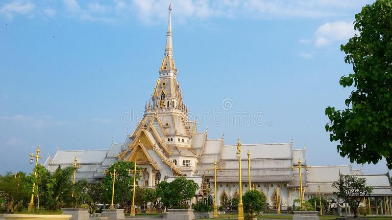 Wat Sothon Wararam Worawihan, Chachoengsao, Thaïlande images libres de droits