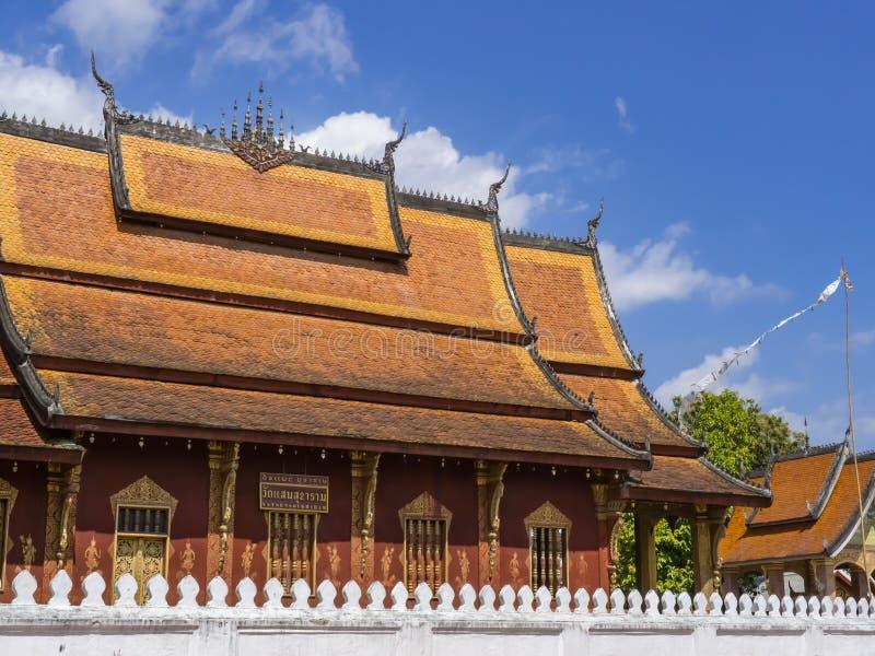 Wat Soukaram参议员 在标签的翻译:Soukaram Temple参议员 免版税图库摄影
