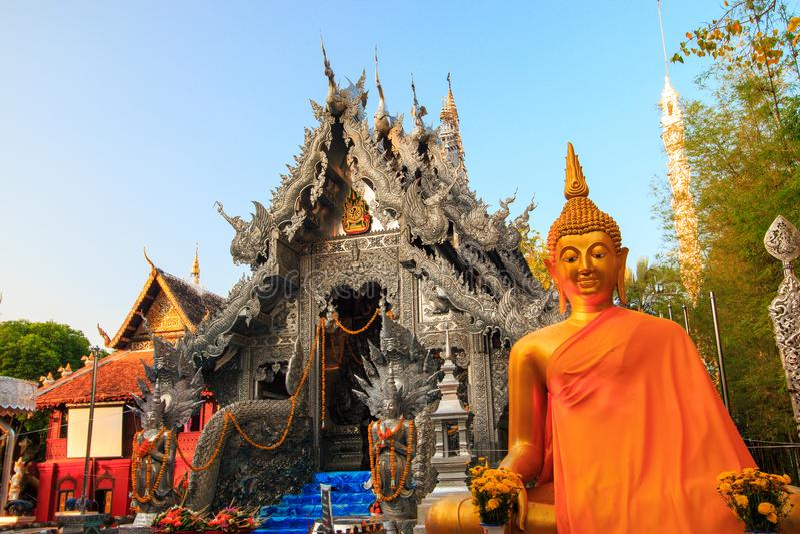 Wat Srisuphan世界` s第一银色教堂 库存照片