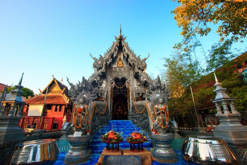 Wat Srisuphan世界` s第一银色教堂 免版税图库摄影