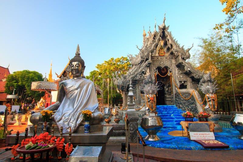 Wat Srisuphan世界` s第一银色教堂 免版税库存照片