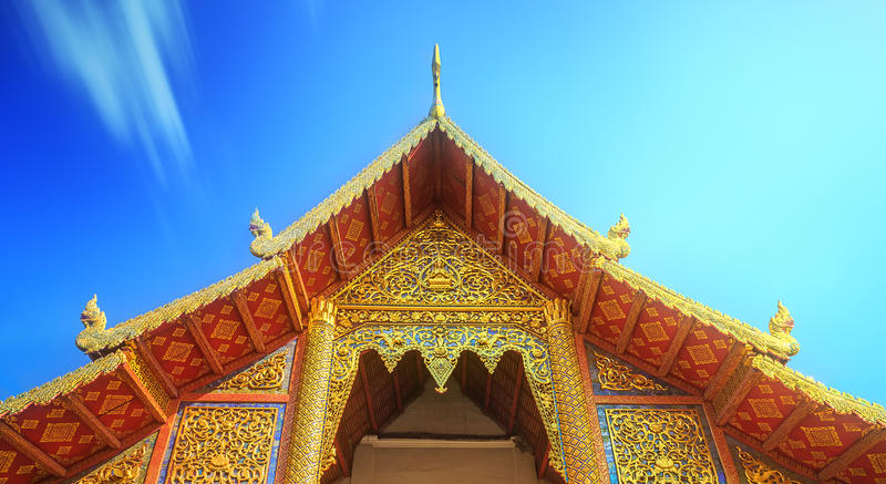 Wat,Temples with golden dragons in Chiang Mai stock photography