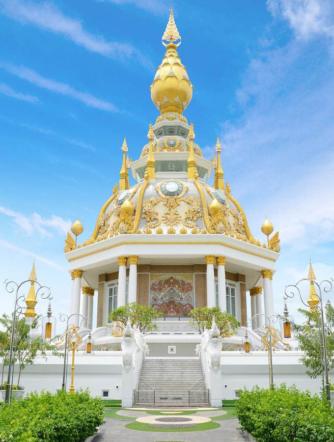 Wat Thung Setthi Temple in Khonkaen, Thailand. White and Golden temple royalty free stock photos