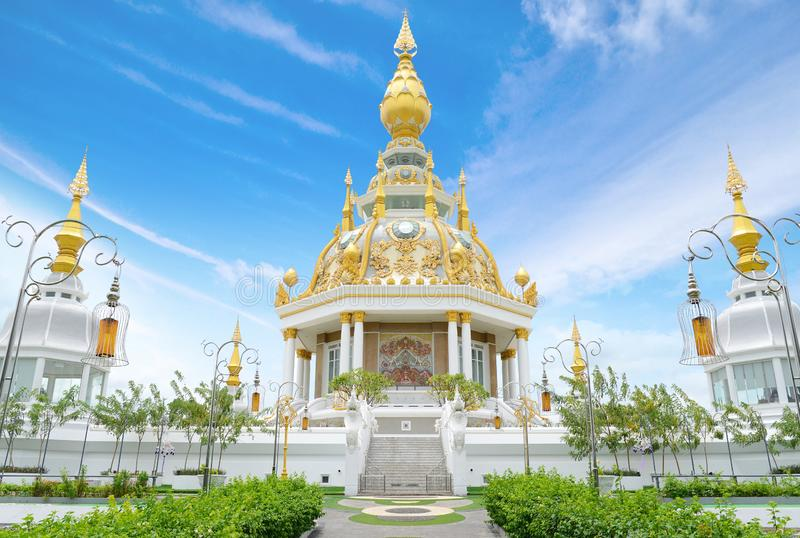 Wat Thung Setthi Temple in Khonkaen, Thailand. White and Golden temple royalty free stock photography