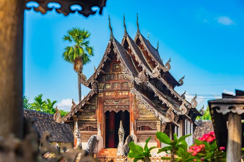 Wat Ton Kain, vecchio tempio fatto da legno fotografia stock