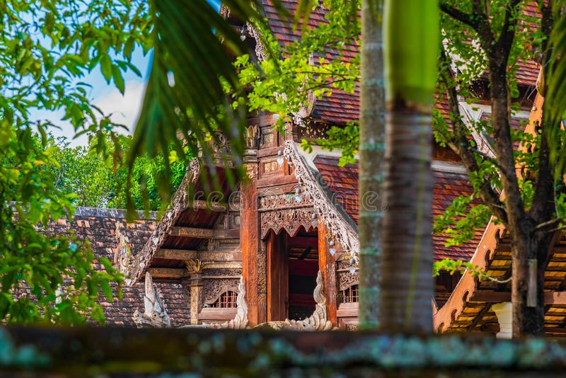 Wat Ton Kain, vecchio tempio fatto da legno immagine stock libera da diritti