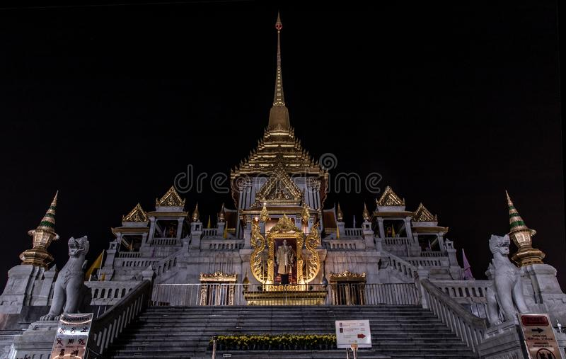 Wat Traimitr Temple or Wat Traimit Withayaram Worawihan Temple and also known as The Temple of the Golden Buddha largest in the stock photo