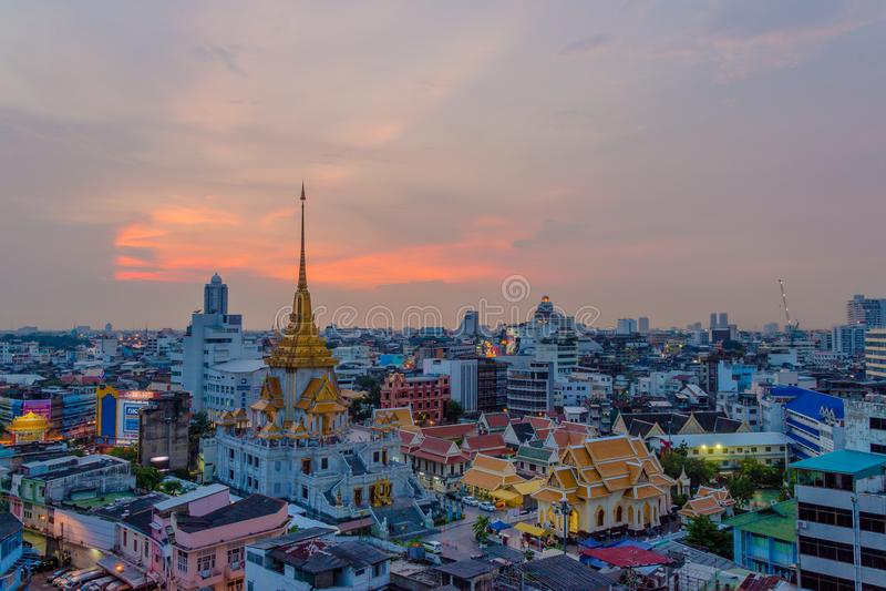 Wat-traimitr withayaram Tempel in Bangkok, Thailand stockbilder