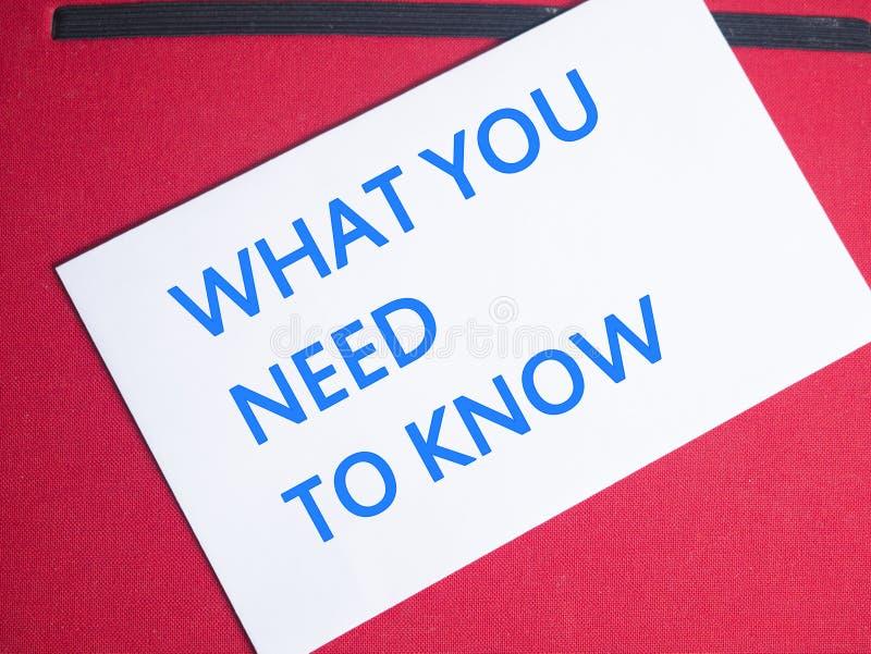 Wat u moet weten, Motieven Inspirational Citaten stock foto's