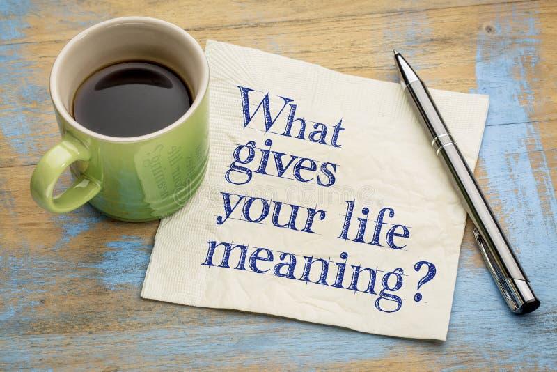 Wat uw leven geeft die vraag betekenen - servet royalty-vrije stock afbeeldingen