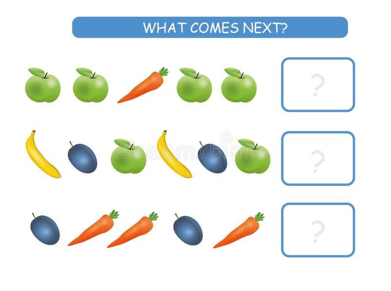 Wat volgende onderwijsjonge geitjesspel komt Het blad van de kinderenactiviteit, opleidingslogica, zet de rij met vruchten en gro stock illustratie