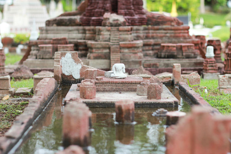 Wat柴Watthanaram模型,微型泰国在芭达亚,泰国 免版税图库摄影