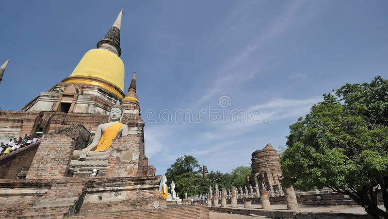 Wat Yai Chai Mongkhon or the Great Monastery of Auspicious Victory in Ayutthaya of Thailand stock photography