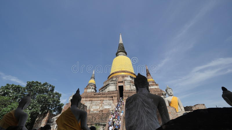 Wat Yai Chai Mongkhon or the Great Monastery of Auspicious Victory in Ayutthaya of Thailand stock image