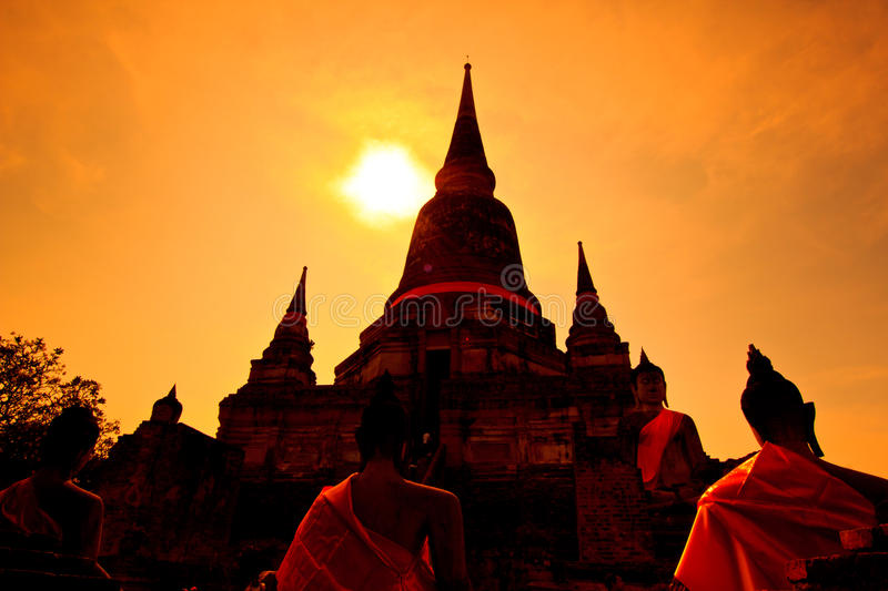 Wat Yai Chai Mongkhon In Thailand Royalty Free Stock Photography