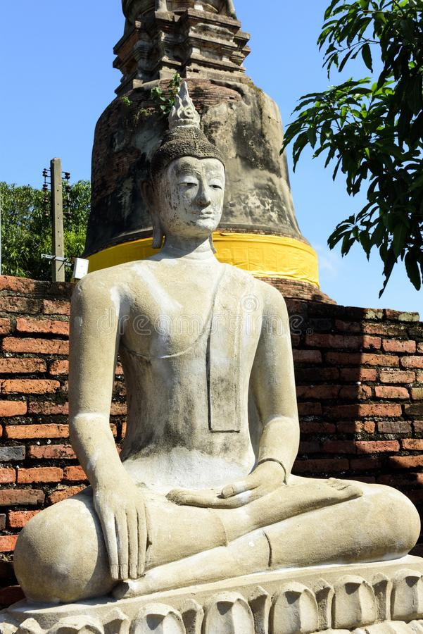 Wat Yai Chai Mongkol, Ayutthaya, Tailândia fotografia de stock