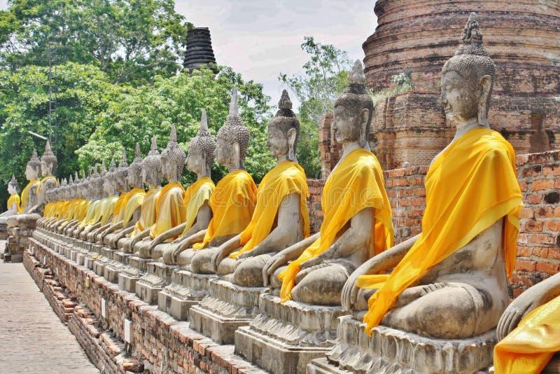 Wat Yai Chai Mongkol, Ayutthaya, Tailândia imagens de stock