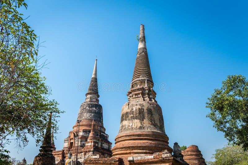 Wat Yai Chai Mongkol w Ayutthaya Dziejowym parku Monaster obrazy stock