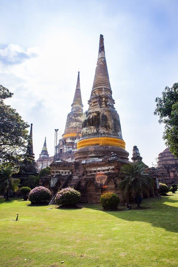 Wat Yai Chai Mongkon i Ayutthaya arkivbilder