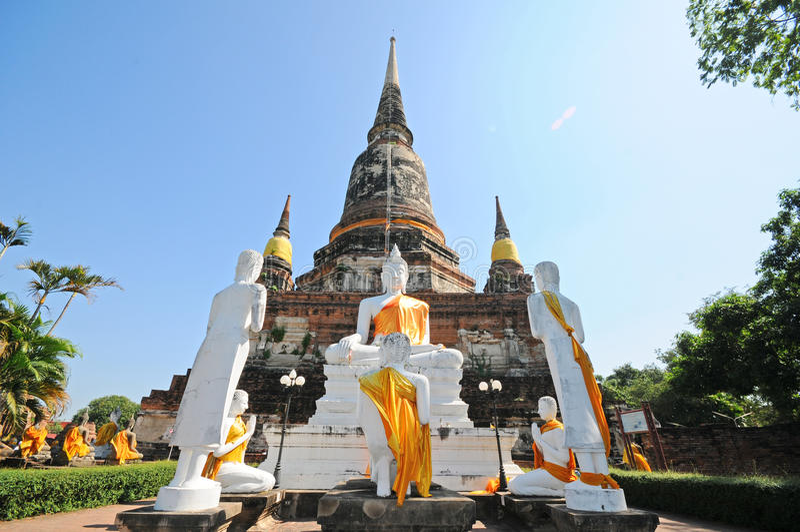 Wat Yai Chaimongkol, Ayutthaya, Таиланд стоковое изображение