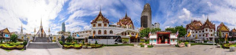 360 Wat Yannawa公开地标全景在泰国 免版税库存照片