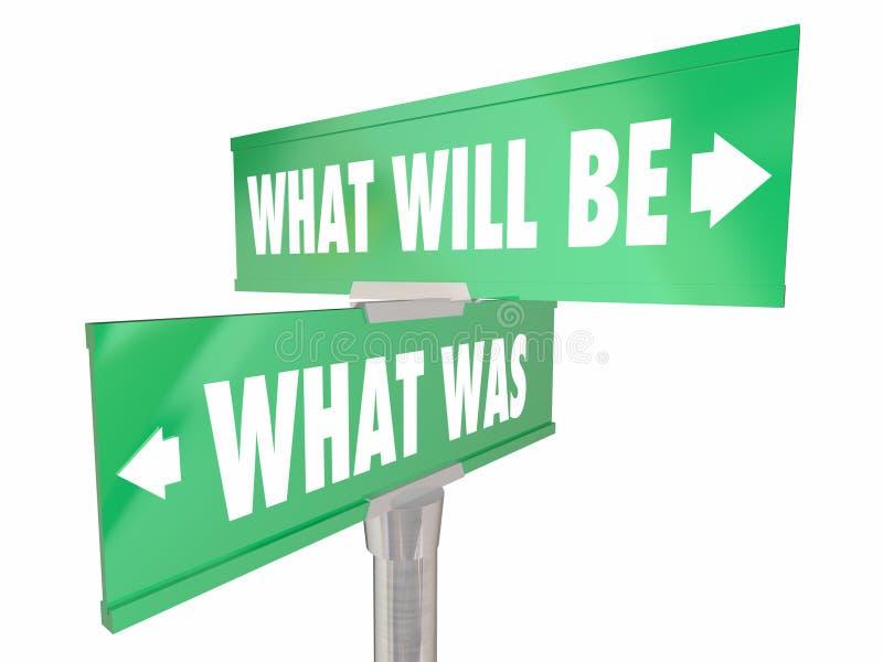 Wat zal was vooruit Twee 2 Manierverkeersteken voorbij Toekomstige Woorden zijn vector illustratie