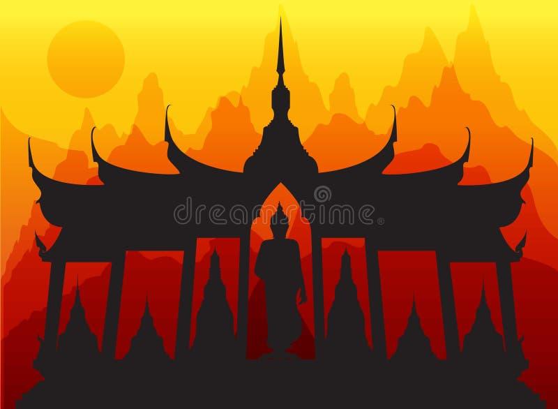 Wata Buddha tajlandzki pagodowy wektor royalty ilustracja