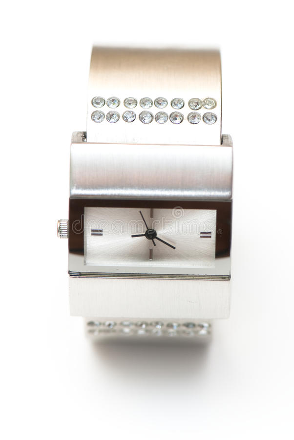 Watch. Womanish watch on the white isolated background. jeweller decoration stock photos
