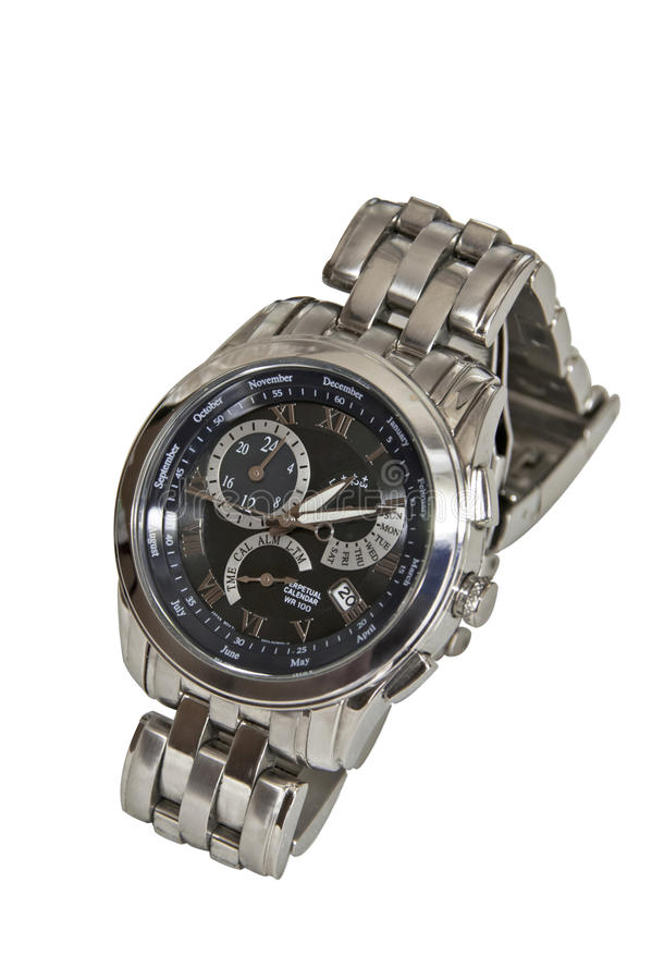 Watch. Man silver watch isolated on white background stock image