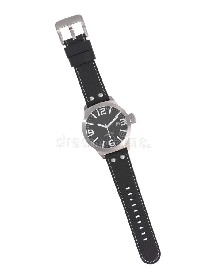 Watch. A sports wrist watch isolated against a white background royalty free stock photo
